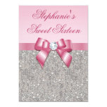 Elegant Sweet 16 Faux Silver Sequins Pink Bow Invitation
