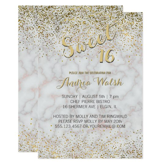 Elegant Sweet 16 Rose Gold Marble Stone Confetti