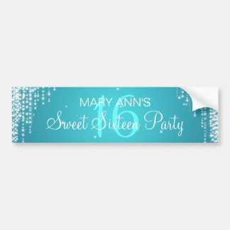 Elegant Sweet Sixteen Party Night Dazzle Turquoise Bumper Sticker