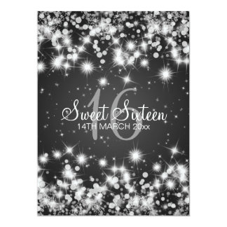 Elegant Sweet Sixteen Party Winter Sparkle Black Card