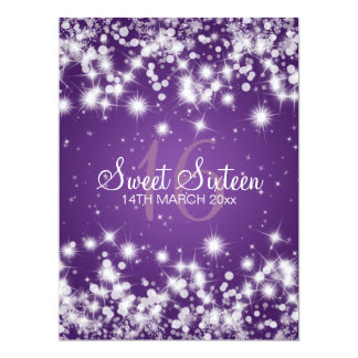 Elegant Sweet Sixteen Party Winter Sparkle Purple Card