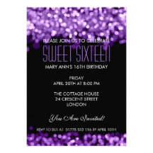 Elegant Sweet Sixteen Sparkling Lights Purple Personalized Announcements
