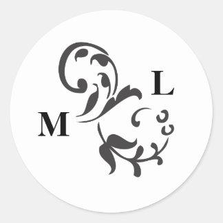 Elegant Swirl Envelope Seal Round Sticker