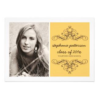Elegant Swirl Modern Vintage Photo Graduation Gold Invitation