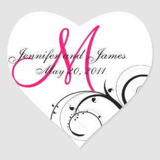 Elegant Swirl Monogram Wedding Favour Labels Heart Sticker