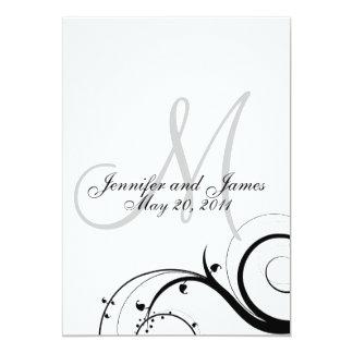 Elegant Swirl Monogram Wedding Invitation Back