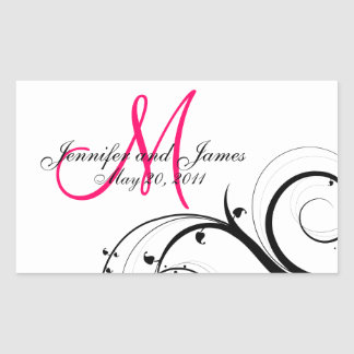 Elegant Swirl Monogram Wedding Wine Labels