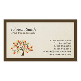 Elegant Swirl Whimsical Tree - Modern Professional Double-Sided Standard Business Cards (Pack Of 100)