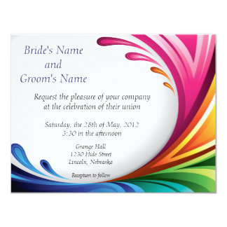 Elegant Swirling Rainbow Splash Invite - 4