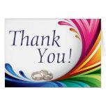 Elegant Swirling Rainbow Splash - Thank You - 2 Stationery Note Card