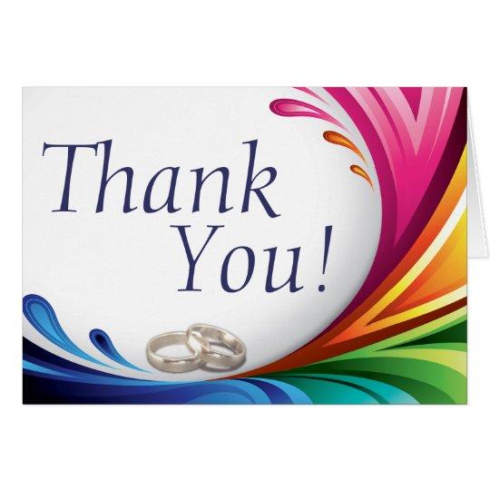 Elegant Swirling Rainbow Splash - Thank You -