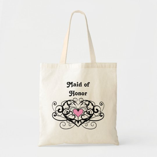 Elegant swirls and hearts maid of honour tote