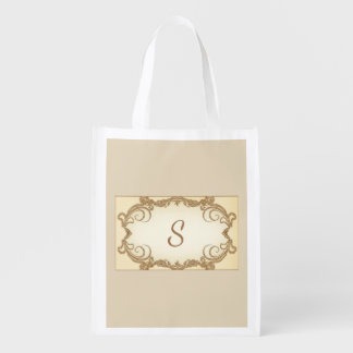 Elegant Swirls and Monogram Reusable Grocery Bag