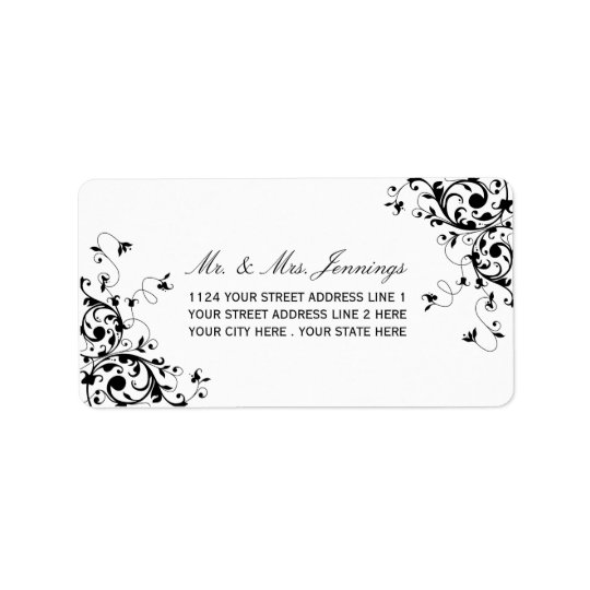 Elegant Swirls Black & White Wedding Labels