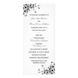 Elegant Swirls Black & White Wedding Program Rack Card