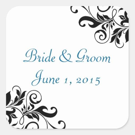 Elegant Swirls Blue Wedding Stickers