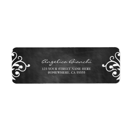 Elegant Swirls Chalkboard  Return Address Label