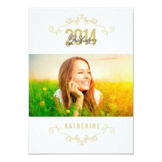 "Elegant Swirls Graduate Class Of 2014 Party Invite 5"" X 7"" Invitation Card"