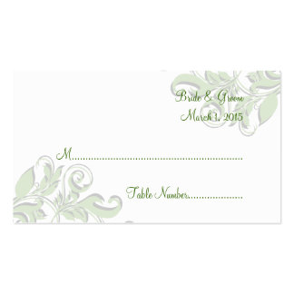 Elegant Swirls Green Wedding Place Cards Pack Of Standard Business Cards