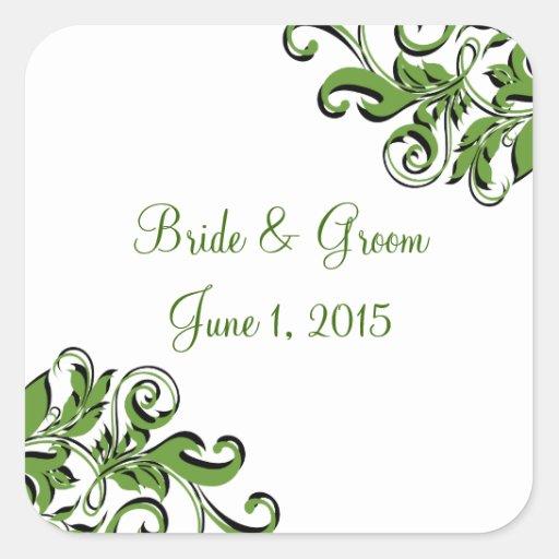 Elegant Swirls Green Wedding Stickers