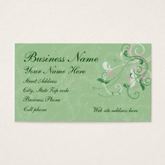Elegant Swirls on Glittered Green Background Business Card