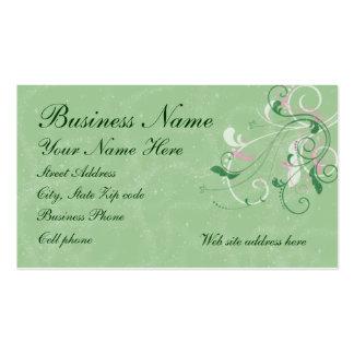 Elegant Swirls on Glittered Green Background Pack Of Standard Business Cards
