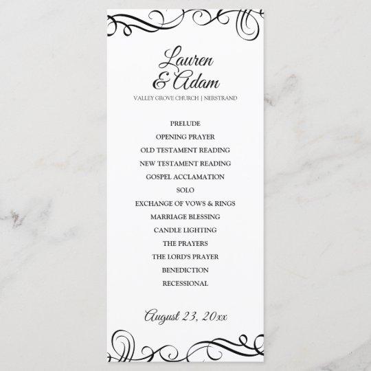 elegant swirls wedding program black white programme zazzle co uk