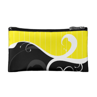 Elegant Swirls Yellow and Black Cosmetics Bags