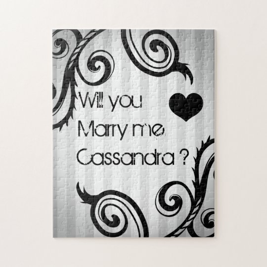 Elegant swirly black and grey style proposal jigsaw