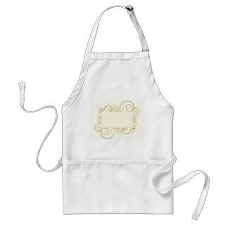 Elegant swirly frame in gold standard apron
