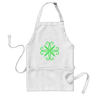 Elegant swirly neon green motif standard apron