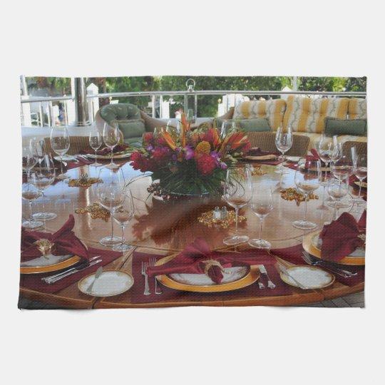 Elegant Table Arrangement Kitchen Towels