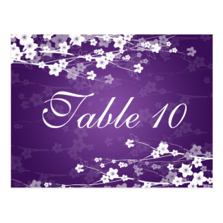 Elegant Table Number Cherry Blossom Purple Postcard