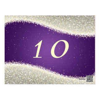 Elegant Table Number Dazzling Sparkles Purple Postcard