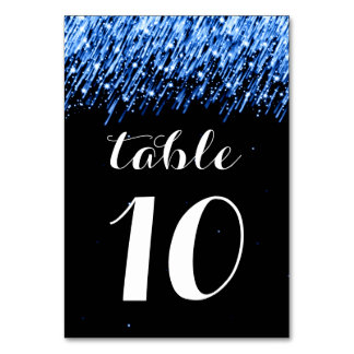 """Elegant Table Number Falling Stars """"Sapphire Blue"""" Table Cards"""