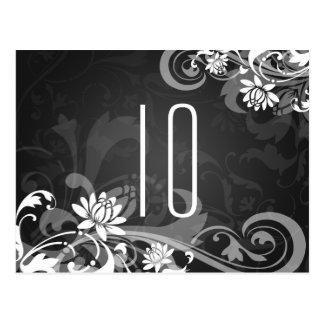 Elegant Table Number Floral Swirls Black Post Card