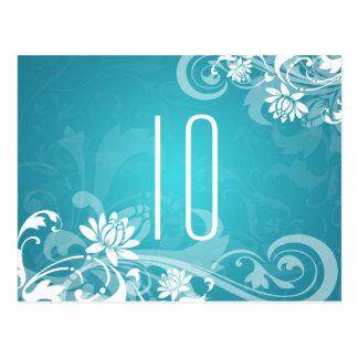 Elegant Table Number Floral Swirls Blue Post Cards
