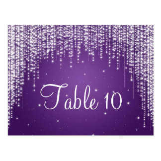 Elegant Table Number Night Dazzle Purple Postcard