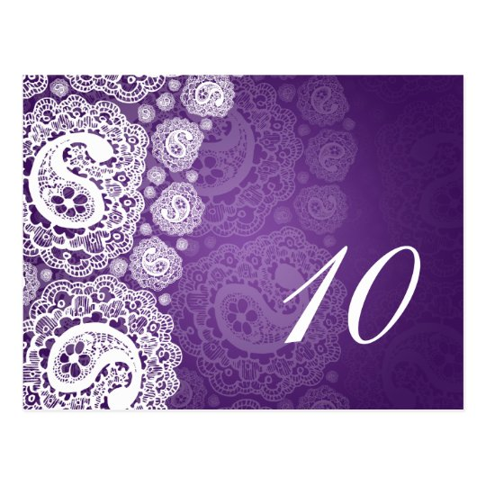 Elegant Table Number Paisley Lace Purple Postcard