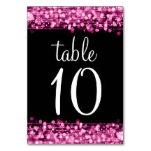 Elegant Table Number Party Sparkles Pink Table Cards