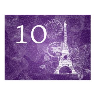 Elegant Table Number Romantic Paris Purple Postcard