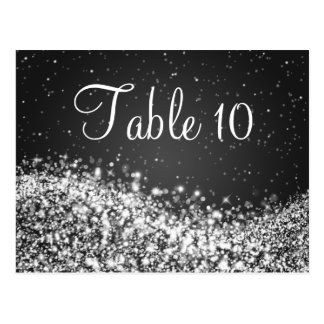 Elegant Table Number Sparkling Wave Black Postcard