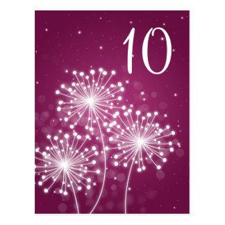 Elegant Table Number Summer Sparkle Merlot Pink Post Cards