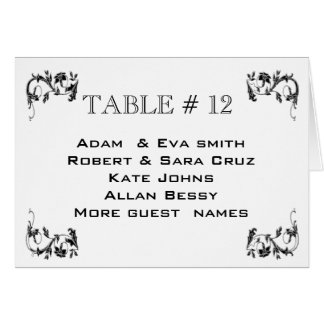 Elegant Table number template wedding Note Card