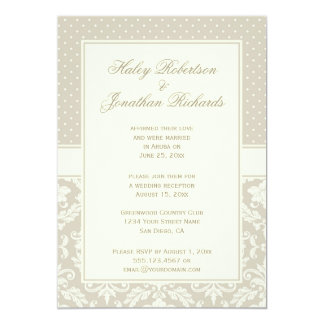 Elegant Tan Ivory Damask Polka Dots Reception Only Card