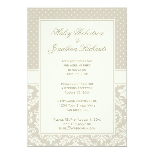 Elegant Tan Ivory Damask Polka Dots Reception Only