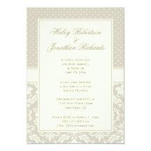 Elegant Tan Ivory Damask Polka Dots Reception Only 13 Cm X 18 Cm Invitation Card