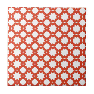 Elegant Tangerine Tango Stars Pattern Tile