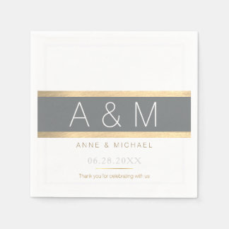 elegant / tasteful monogrammed wedding reception disposable serviettes