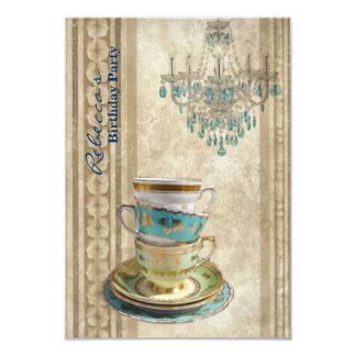 elegant tea cup chandelier vintage birthday party 9 cm x 13 cm invitation card